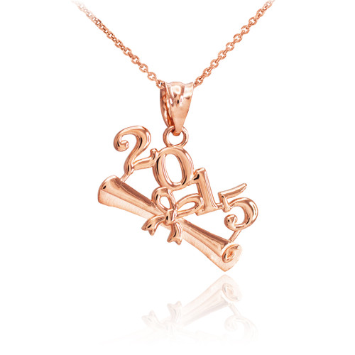 2015 Class Graduation Rose Gold Pendant Necklace