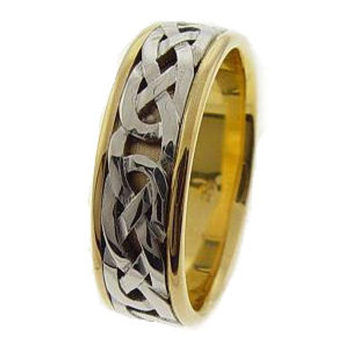 Bold Two-Tone Celtic Wedding Ring