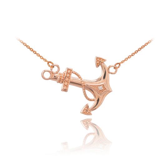 14K Rose Gold Sideways Anchor Diamond Necklace