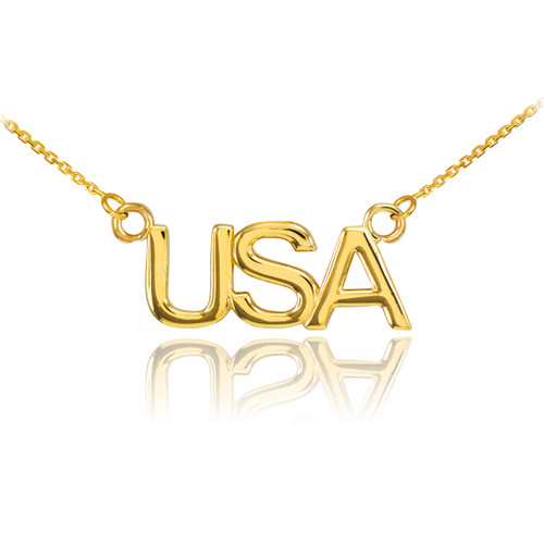 14K Gold USA Necklace