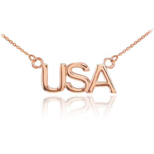 14K Rose Gold USA Necklace