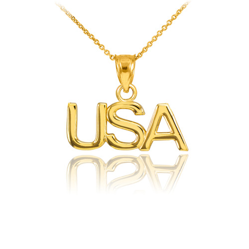 Gold USA Pendant Necklace