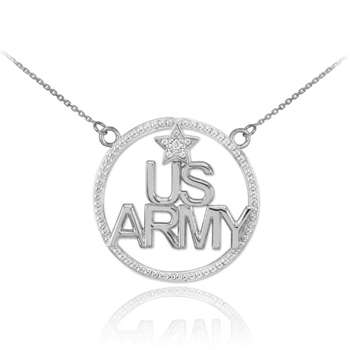 14K White Gold 'US ARMY' Diamond Necklace