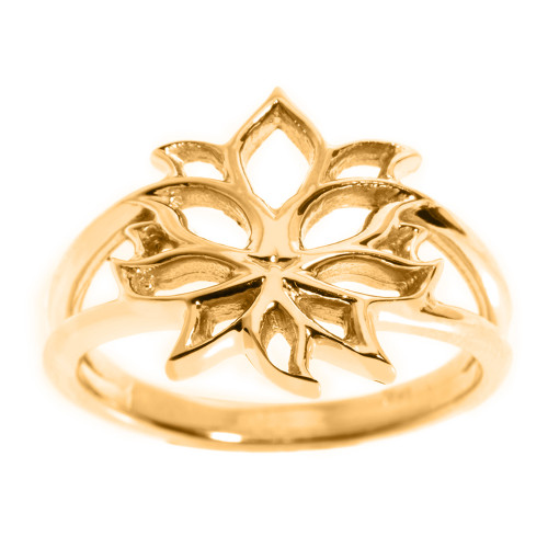 Yellow Gold Lotus Blossom Flower Ladies Ring
