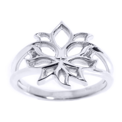 Sterling Silver Lotus Blossom Flower Ladies Ring