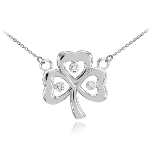 14K White Gold 3-Leaf Diamond Clover Necklace