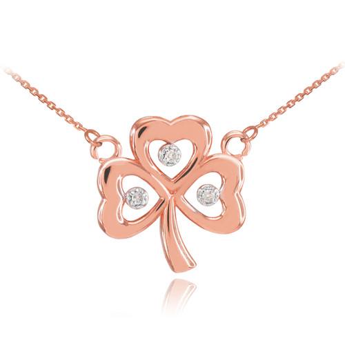14K Rose Gold 3-Leaf Diamond Clover Necklace