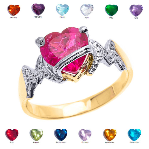 "Yellow Gold Heart CZ Birthstone ""MOM"" Ring"