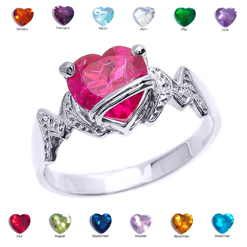 "White Gold Heart CZ Birthstone ""MOM"" Ring"