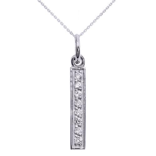 14k White Gold Vertical Bar Diamond Necklace
