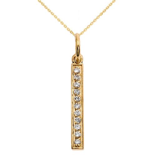 14k Yellow Gold Diamonds Studded Vertical Bar Necklace
