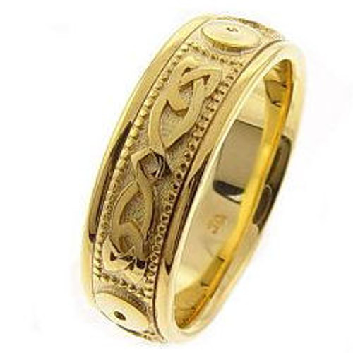 Gold Celtic Knot Comfort Fit Wedding Band