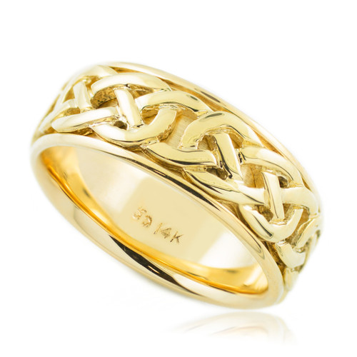 Gold Classic Celtic Knot Wedding Band