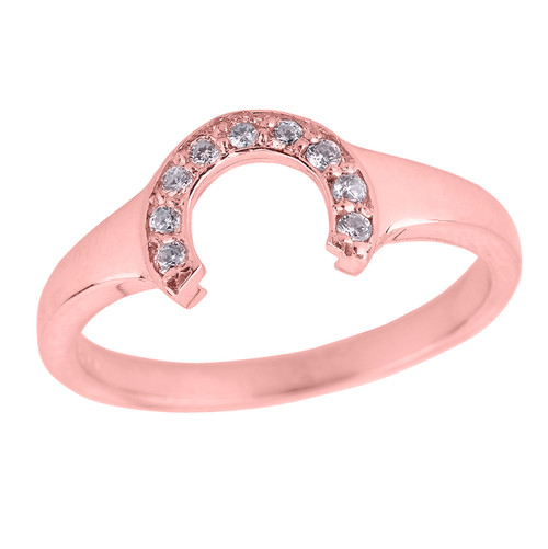 Ladies Rose Gold Diamonds Studded Lucky Horseshoe Ring