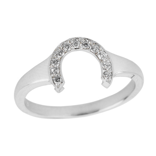 Sterling Silver Cubic Zirconia Ladies Horseshoe Ring