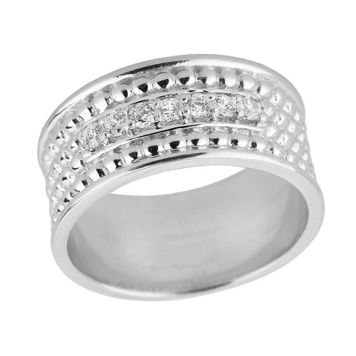 Sterling Silver Ball Chain Bead Cubic Zirconia Anniversary Wedding Band