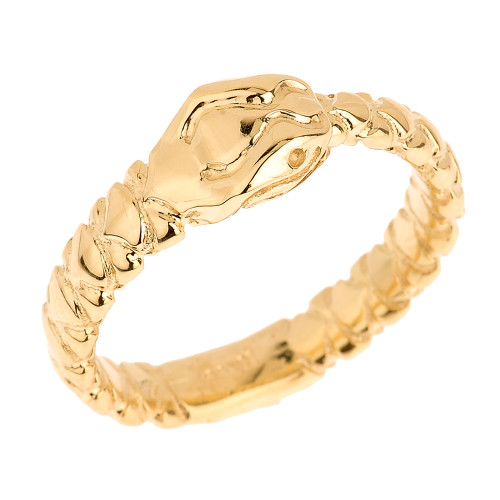 Solid Yellow Gold Unisex Ouroboros Snake Thumb Ring (7 mm Head)
