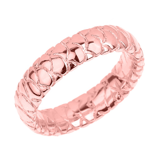 Rose Gold 5.5 MM Textured Unisex Wedding Band