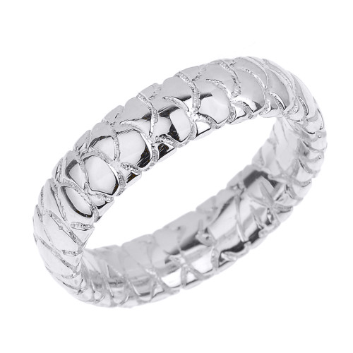 Sterling Silver 5.5 MM Textured Unisex Thumb Ring
