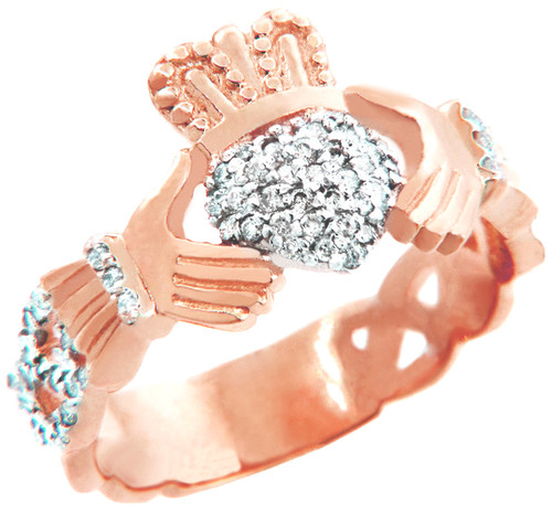 18K Rose Gold Diamond Pave Claddagh Ring unisex.