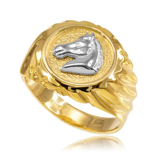 Gold Horse Head Men's Ring