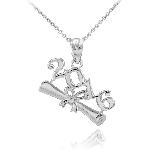2016 Class Graduation White Gold Pendant Necklace