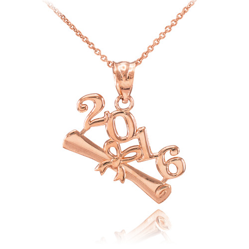 2016 Class Graduation Rose Gold Pendant Necklace