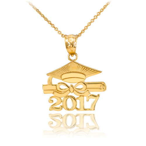 "Gold ""CLASS OF 2017"" Graduation Pendant Necklace"