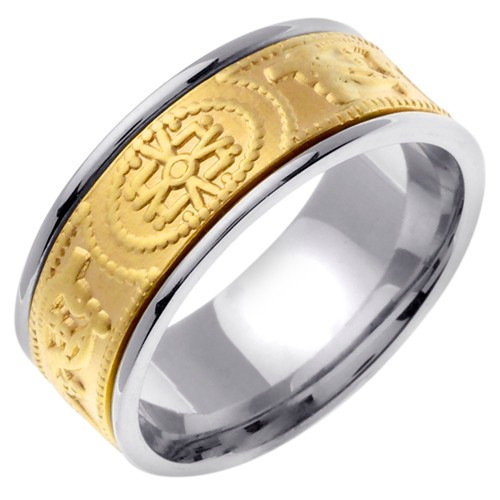 Two-Tone Gold Celtic Symbol Wedding Band