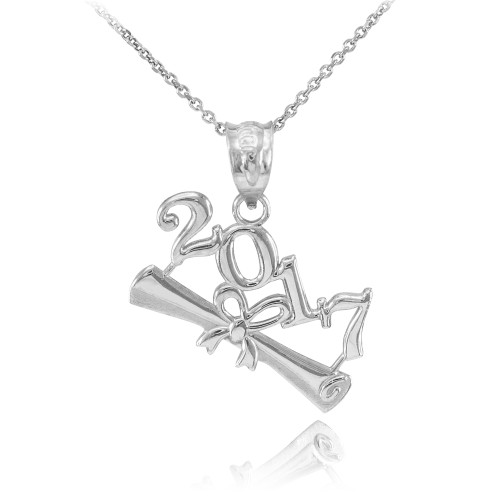 2017 Class Graduation White Gold Pendant Necklace