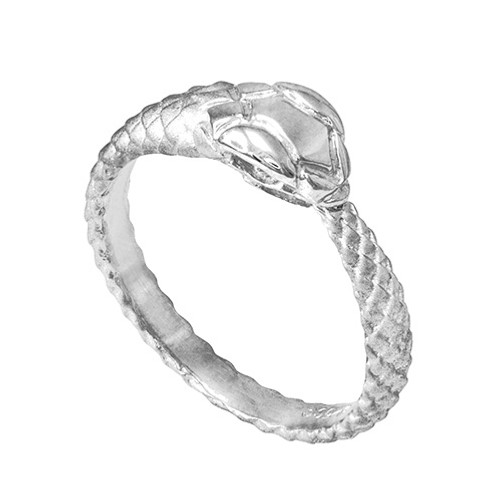 White Gold Tail Biting Ouroboros Snake Ring