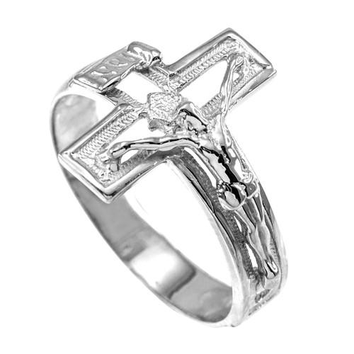 White Gold Open Crucifix Cross Ring