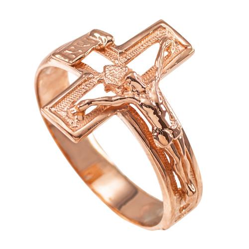 Rose Gold Open Crucifix Cross Ring