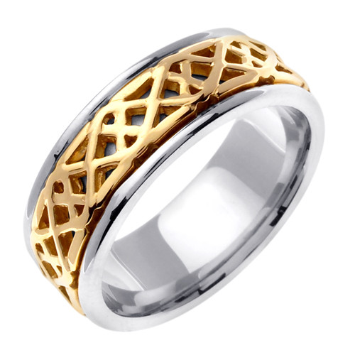 Gold Celtic Comfort Fit Wedding Band