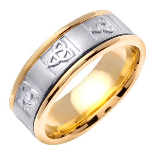 Two-Tone Gold Celtic Knot Wedding Band