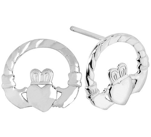 925 Sterling Silver Classic Claddagh Earring