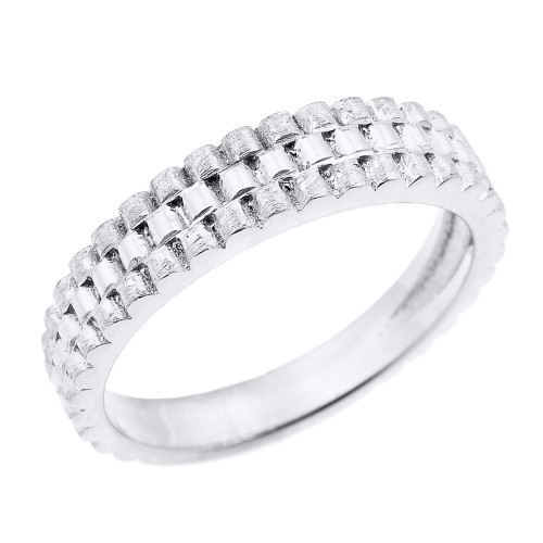 White Gold Watchband Design Unisex Wedding Band