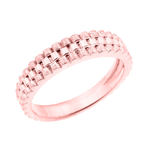 Rose Gold Watchband Design Unisex Wedding Band