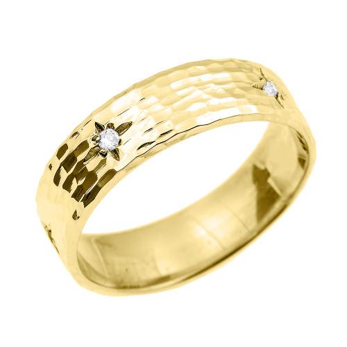 Yellow Gold Hammered Diamond Band 7.2 MM