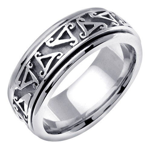 14K White Gold Celtic Trinity Wedding Ring Band