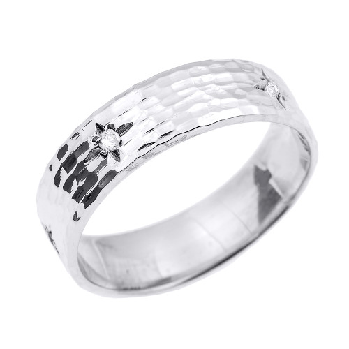 White Gold Hammered Diamond Band 7.2 MM