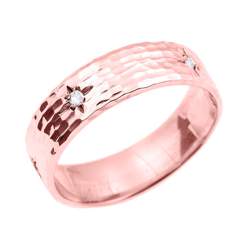 Rose Gold Hammered Diamond Band 7.2 MM