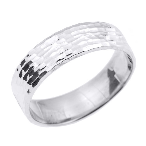White Gold Hammered Unisex Wedding Band 7.0 MM