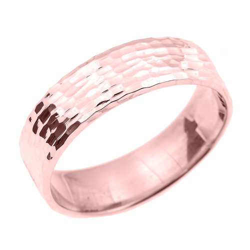 Rose Gold Hammered Unisex Wedding Band 7.0 MM