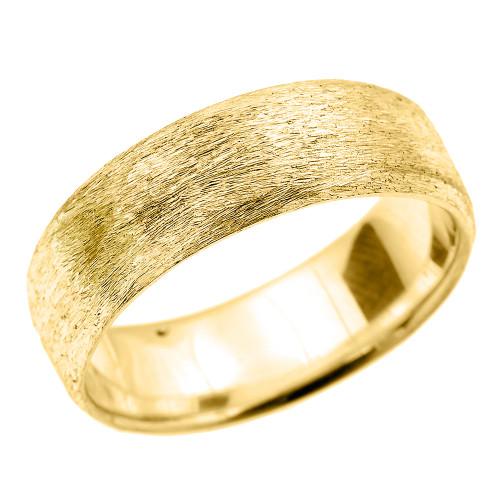 Yellow Gold Satin Finished Unisex Wedding Band 7.2 MM