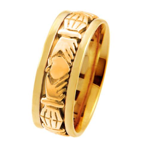 Solid Gold Claddagh Wedding Band