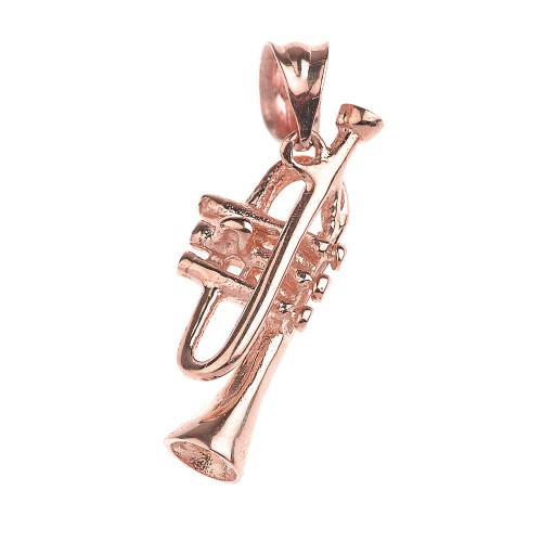 Rose Gold Trumpet Charm Pendant Necklace