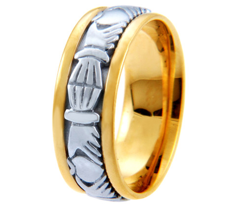 Two-Tone Gold Claddagh Wedding Band
