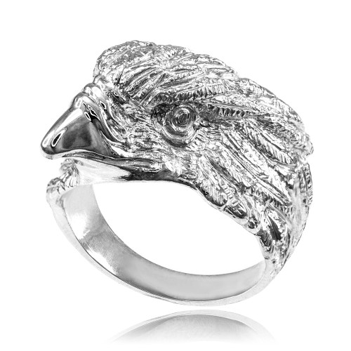 Sterling Silver American Eagle Head Men's Ring