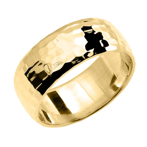 Yellow Gold Hammered Comfort Fit Classic Wedding Band 8.0 mm